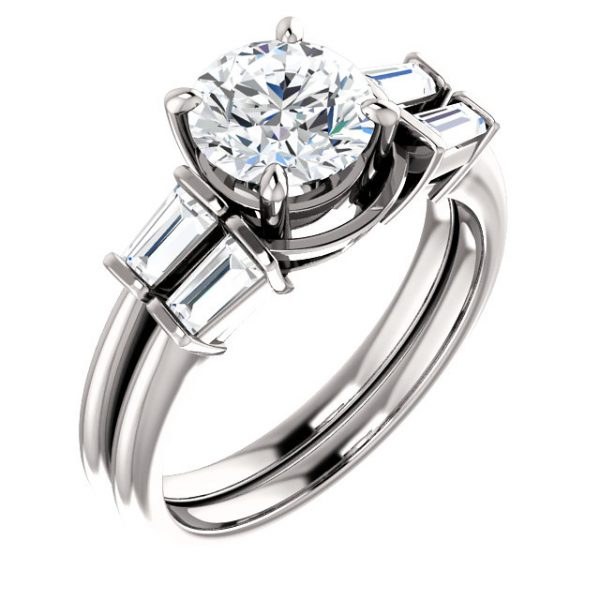 Classic 4 prong with 2 tapered baguette side stones.