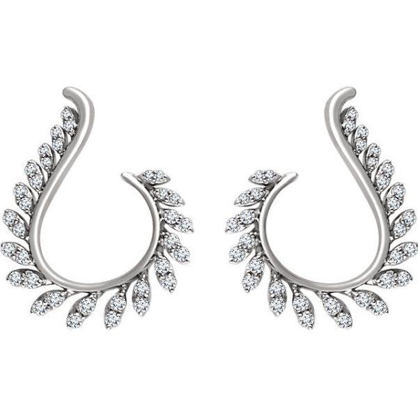 14K White gold Motif earrings.